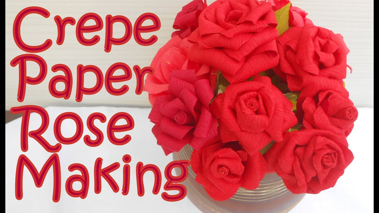 Diy how to make crepe paper rose flower youtube mightylinksfo
