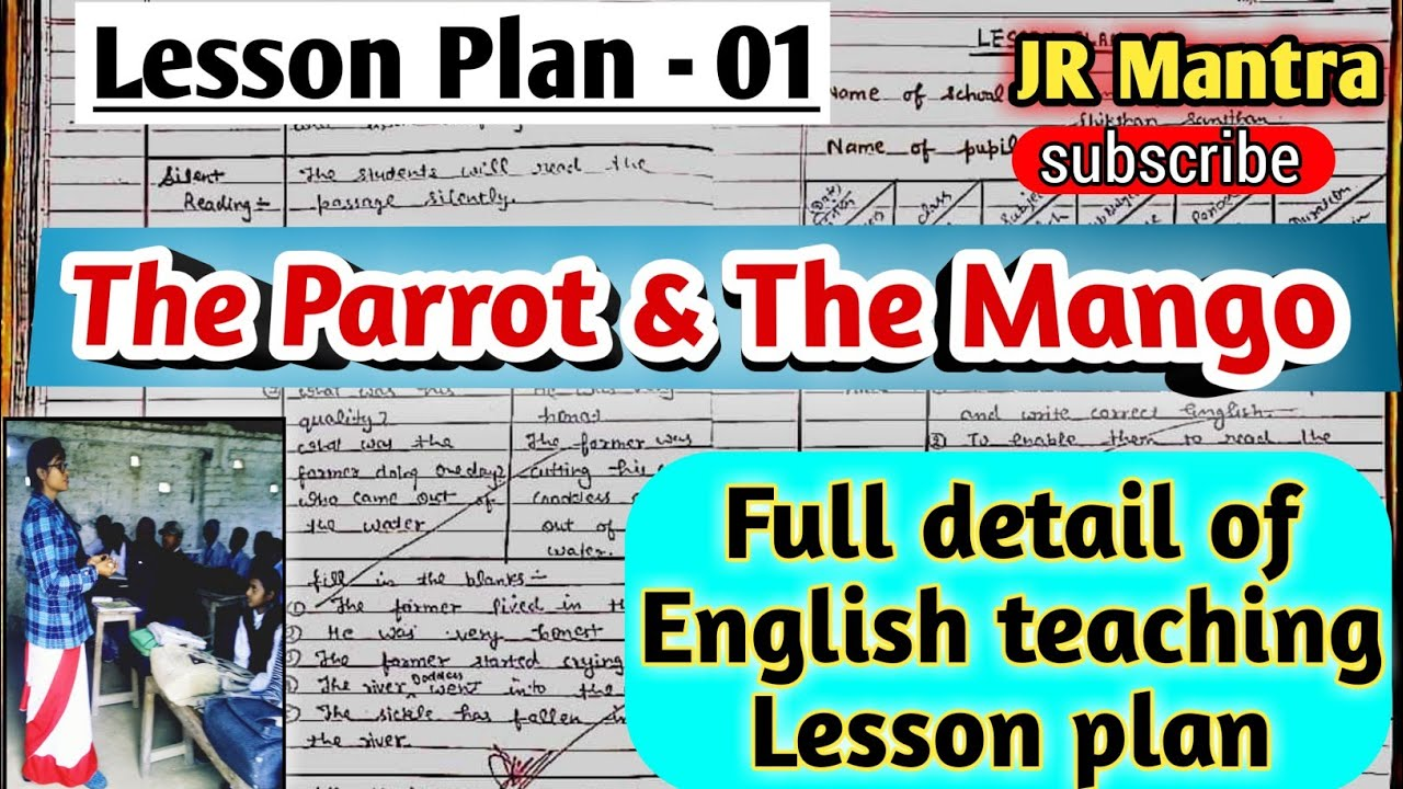 B Ed 2nd year English lesson plan of class 8th/ The Parrot and the  Mango/बी एड  पाठ योजनाअंग्रेजी