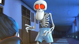 Funny Animated Cartoon | Spookiz Skeleton Teacher Wears Only His Underpants | Videos For Kids