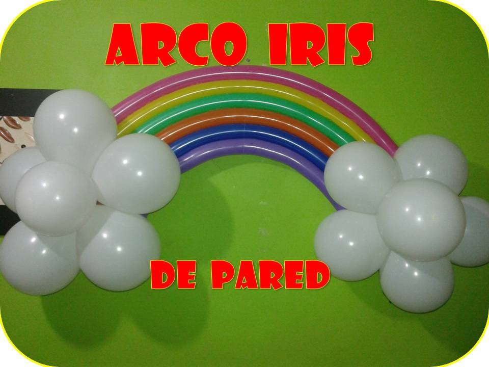 Arco iris con globos para pared youtube for Stickers para decorar paredes infantiles