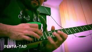 Pentatonic Tapping Arpeggio lesson in G minor with String Skipping part 1