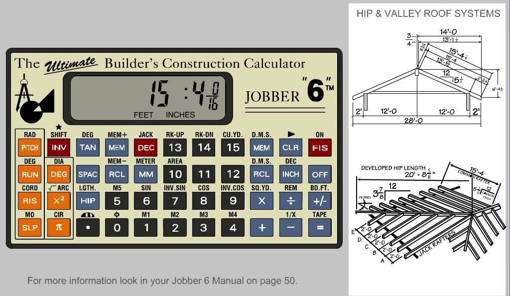 Jobber 6 construction calculator solving hip and valley New construction calculator
