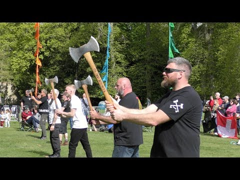 2019 Scottish Axe Throwing open to the Braveheart sound of tribal pipes and drums at Scone Palace