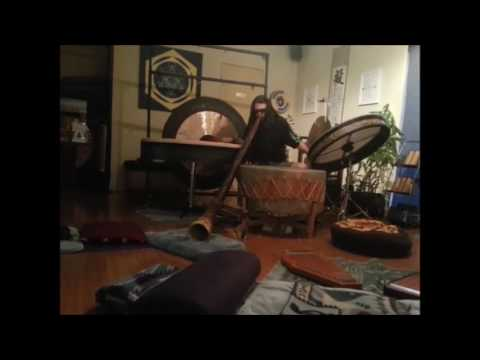 Making noise with XL large drums, gongs & didgeridoo