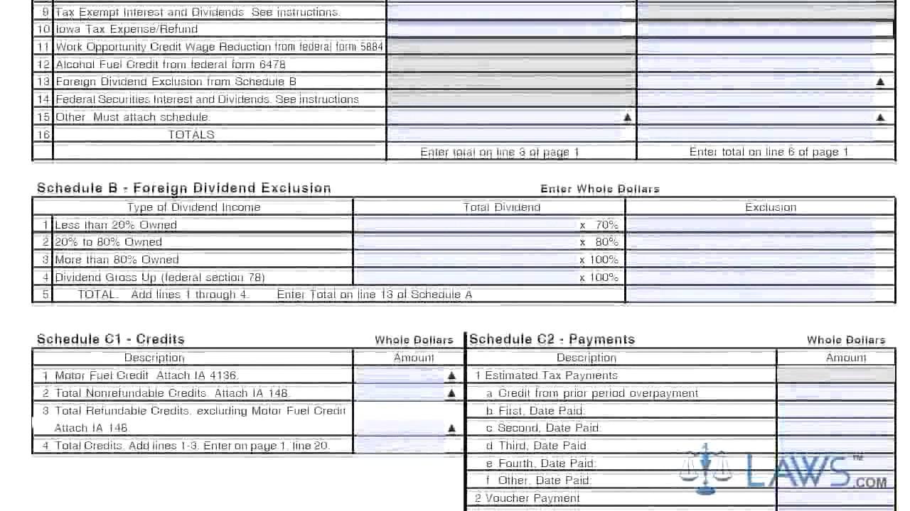 Form IA 1120 Iowa Corporation Income Tax Return Long Form - YouTube
