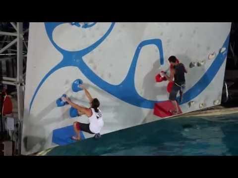 Isaac Caldiero (American Ninja Warrior) and Sean McColl climb at the Psicocomp 2014 (seeding round)