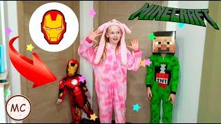 Веселое видео, прыгаем на кровати в костюме Майнкрафт, Железный человек, Единорог Just For Fun!