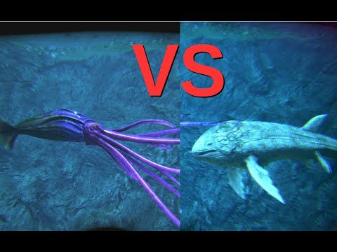 Tusoteuthis VS Alpha Leedsichthys And Alpha Mosasaur || ARK: Survival Evolved || Cantex