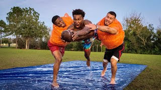 THIS IS THE HARDEST I'VE EVER BEEN TACKLED.. KNOCKOUT BUBBLE WRAP FOOTBALL DRILLS!