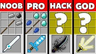 Minecraft Battle: SUPER SWORD CRAFTING Challenge - NOOB vs PRO vs HACKER vs GOD - Animation