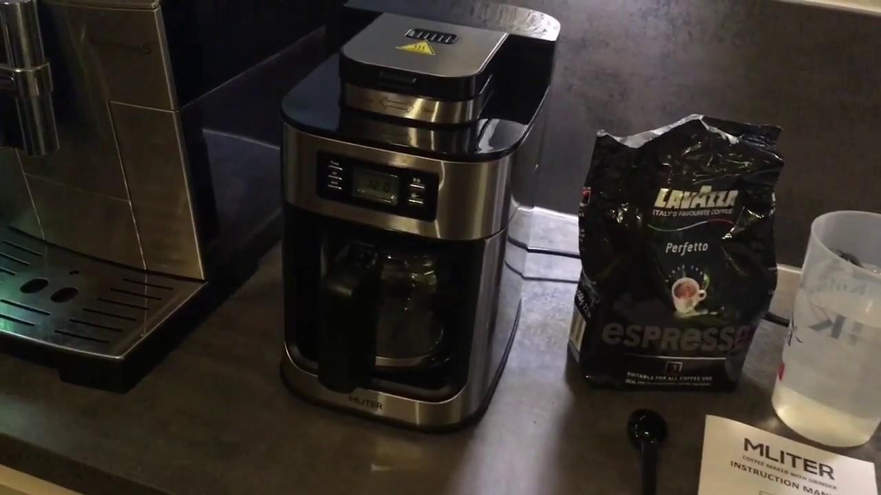 kaffeemaschine mit mahlwerk und timer mliter youtube. Black Bedroom Furniture Sets. Home Design Ideas
