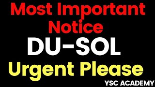 DU-SOL Most important Notice | SOL Updates | YSC ACADEMY