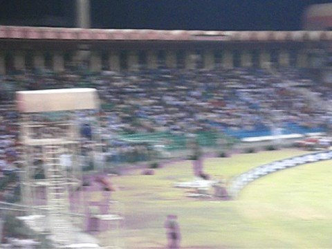 Final 20-20 Cricket Tournament Gaddafi Stadium at Night 8 Oct 2008 Lahore Pakistan