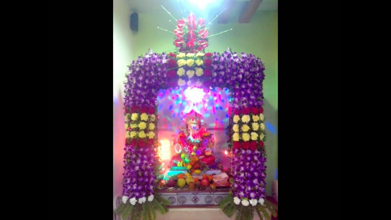 Ganpati flower decoration youtube for Artificial flower decoration for ganpati