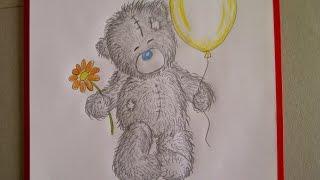 Como dibujar un oso de peluche. Un dibujo para principiantes. Como desenhar um urso de pelúcia