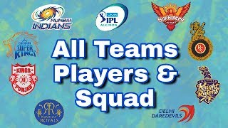IPL 2018 Auction - All Teams Players List & Squad | MI ,CSK ,RR ,KKR ,DD ,KXIP ,RCB ,SRH
