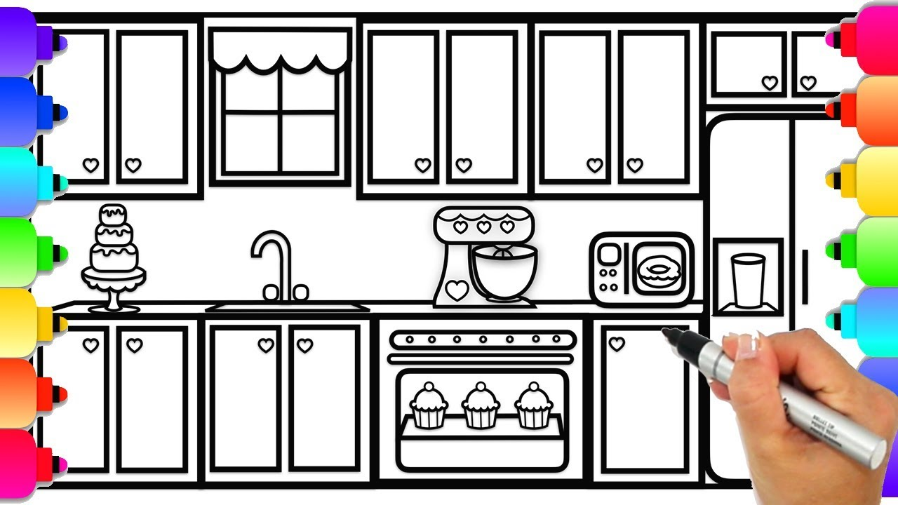 How to Draw a Kitchen for Kids Step by Step Easy | Kitchen ...