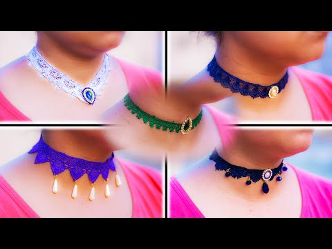 DIY : 5 easy choker necklace | Lace Choker | Handmade jewelry | Art with Creativity