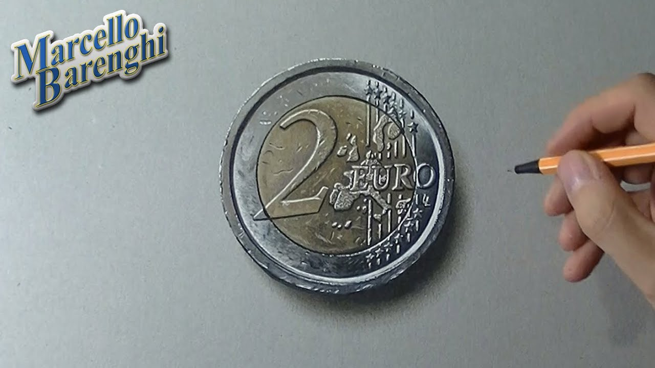 Drawing Time Lapse 2 Euro Coin Hyperrealistic Art Youtube