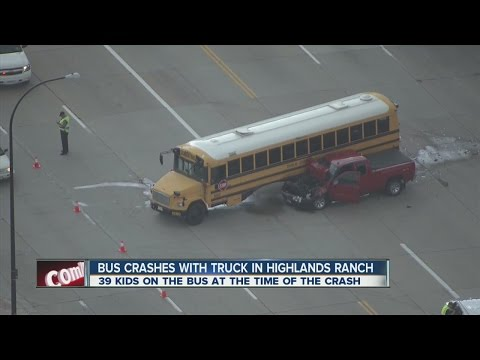 Bus crashes with truck in Highlands Ranch