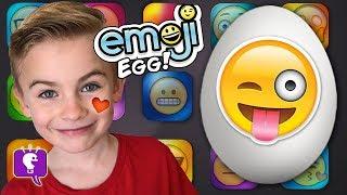 World's Biggest Emoji Surprise Egg! Shark Attack + TOYS Candy Family Fun HobbyKidsTV