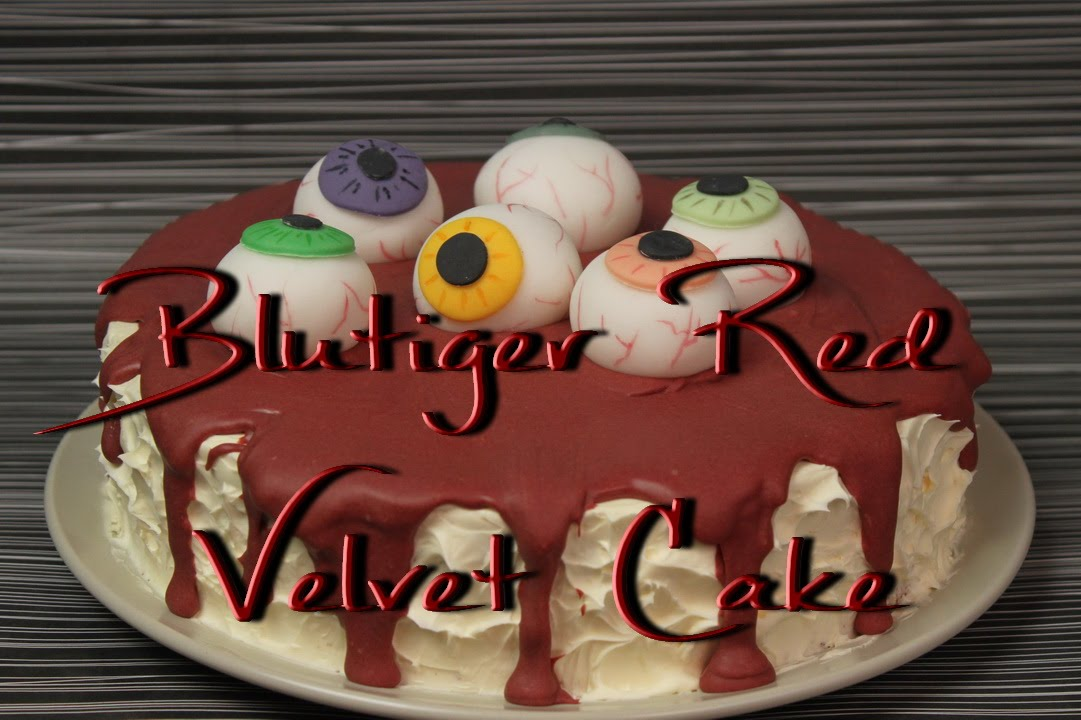 blutiger red velvet cake motivtorte mit aug pfeln zum halloween essen youtube. Black Bedroom Furniture Sets. Home Design Ideas