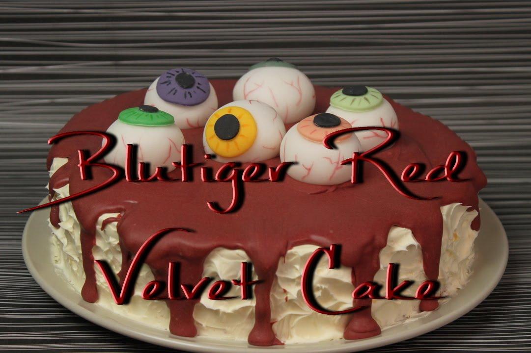 blutiger red velvet cake motivtorte mit aug pfeln zum halloween essen youtube. Black Bedroom Furniture Sets. Home Design Ideas
