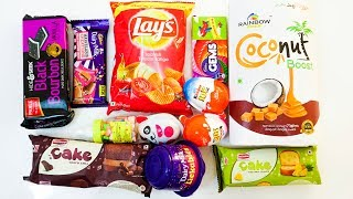 Candies, cakes, dairy milk, Kinder joy, lickables, bourbon biscuit, lays, gems and other candies thumbnail