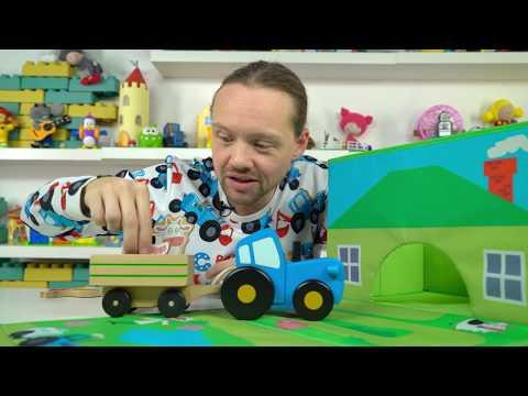 Синий трактор Vlog - Маленький большой или средний - Гараж домик для игрушек