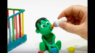 A FEDDING BOTTLE FOR SUPERHERO BABY Play Doh Stop Motion and Cartoons For Kids 💕 Superhero Babies
