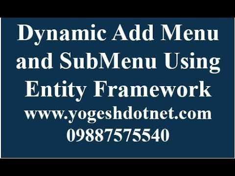 How to create dynamic Menu in ASP NET MVC and Entity Framework | hindi