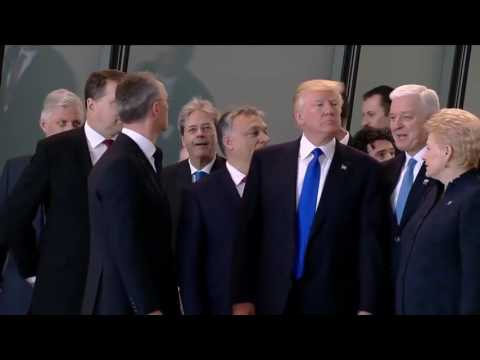 Donald Trump pushes past the President of Montenegro - failing to realize the history before him