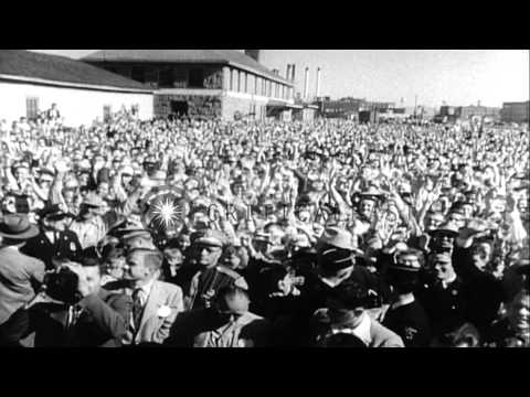 General Dwight D Eisenhower and Adlai Stevenson campaigns for elections in United...HD Stock Footage