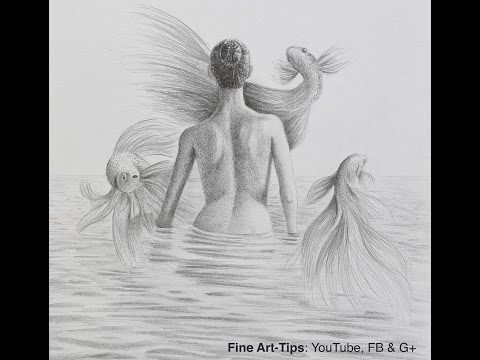 How to Draw a Surreal Drawing - Woman Back With Flying Fish - Water Surface