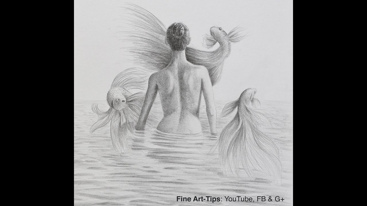 How to draw a surreal drawing woman back with flying fish water surface