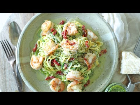 Zucchini Noodles with Pesto and Shrimp Scampi Recipe