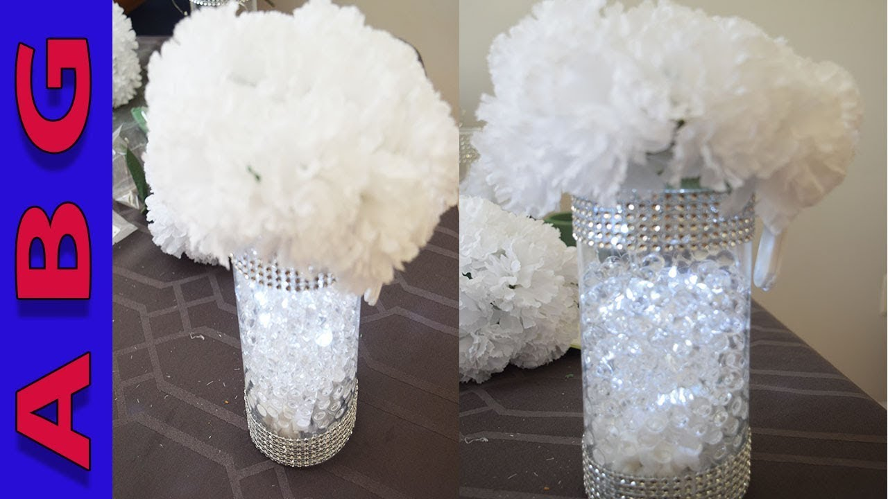 dollar store beautiful diy flower centerpiece with orbeez and lights rh youtube com  sweet sixteen floral centerpieces