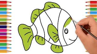 Fish Coloring Pages for Preschool | Coloring Pages Fish | Drawing Extra