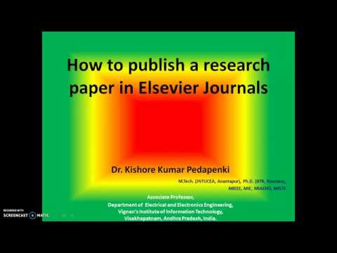 How to publish a research paper in Elsevier Journals