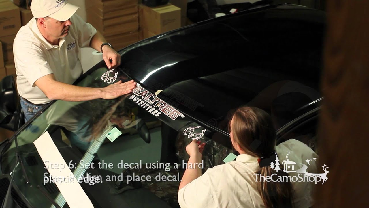 Camo Truck Windshield Decal Installation YouTube - Truck windshield decals