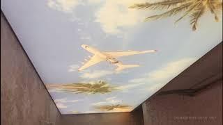 Натяжной потолок в коридоре с подсветкой и фотопечатью