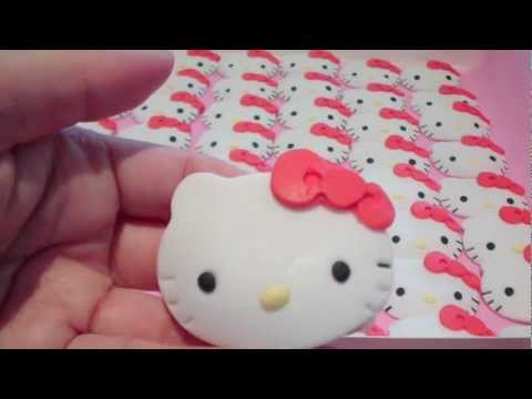 How To Make Hello Kitty Cupcake Toppers 1 Face Details Bow