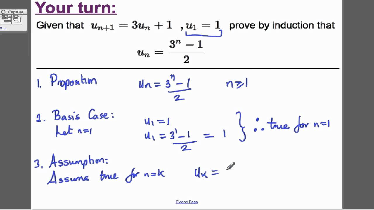 Proof by Induction - Recurrence relations (3) FP1 Edexcel Maths A ...