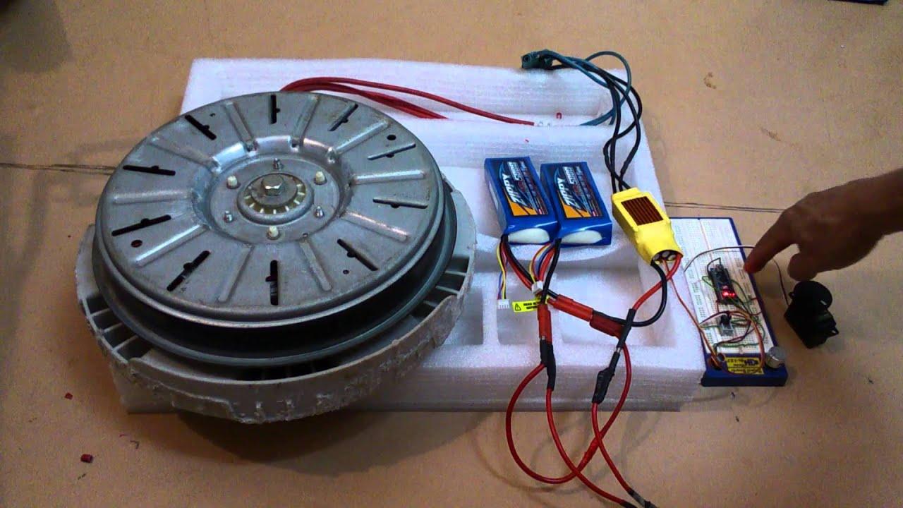 Washing machine brushless motor rewired to 24V  YouTube