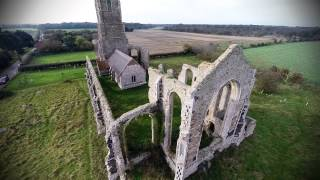 Covehithe, Southwold & St Andrews Church Ruins. Suffolk. Aerial Photography, Drone Video Footage