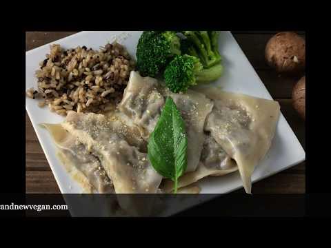 Mushroom Ravioli with Vegan Alfredo