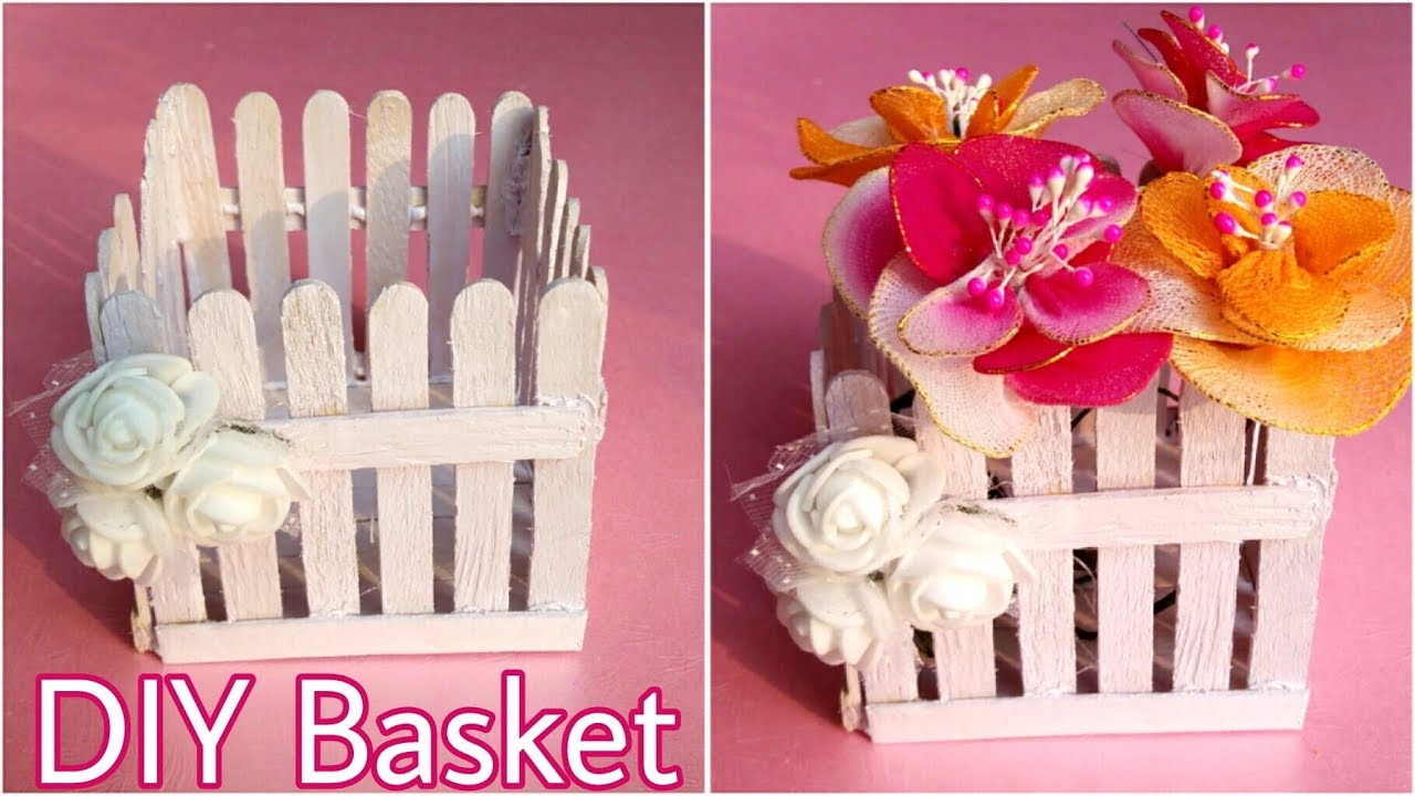 Diy Ice Cream Sticks Basket Flower Basket Craft Stick Ideas The Blue Sea Art