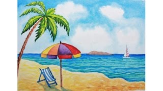 Уроки рисования. Как нарисовать летний пляж акварелью How to Draw a Beach Scene