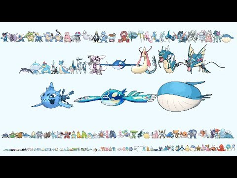 All WATER Pokemon From Smallest To Biggest