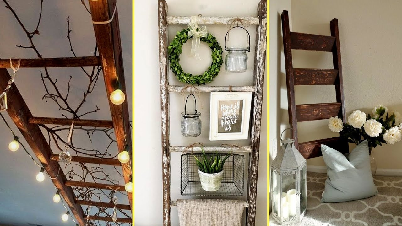 DIY Farmhouse Style Rustic Ladder Decor Ideas 2017-Home